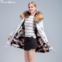 Fanshefeier New females Real fur coat fox fur lining Hooded women's fur coat winter jacket parka natural fox fur collar