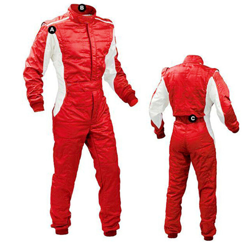 Two Layer Quilted Satin Racing Suit Motorcycle Race Overalls Driving Jumpsuit Car moto Men's Jacket Pants Drag Car Suit For Stig motorbike racing suit children combinaison course automobile kids chaqueta moto mujer baby car karting suit motorcycle suit car