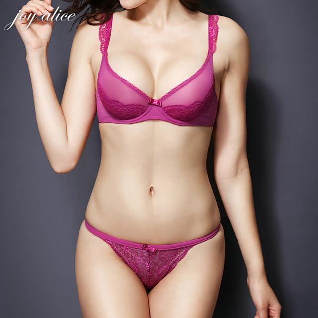 2017 new Design France Brand 32-38 B C D lace bra set sexy transparent bra and brief set women's underwear set lingerie panties