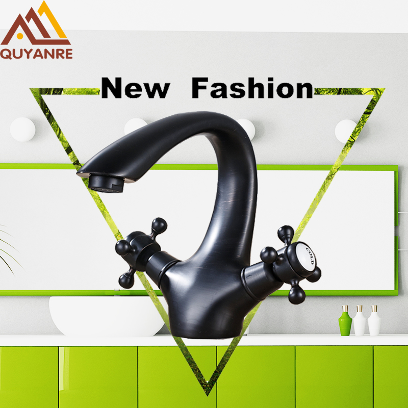 Black ORB Antique Arc-shape Bathroom Basin Faucet Bathroom Faucets Dual Handle Hot and Cold Water Tap Deck Mounted Mixer Tap newest washbasin design single hole one handle bathroom basin faucet mixer tap hot and cold water orb chrome brusehd