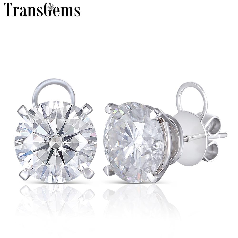 Transgems Big Size 18K 750 White Gold 8CTW 4CT Each 10mm F Color Moissanite Stud Earrings for Women Push Back