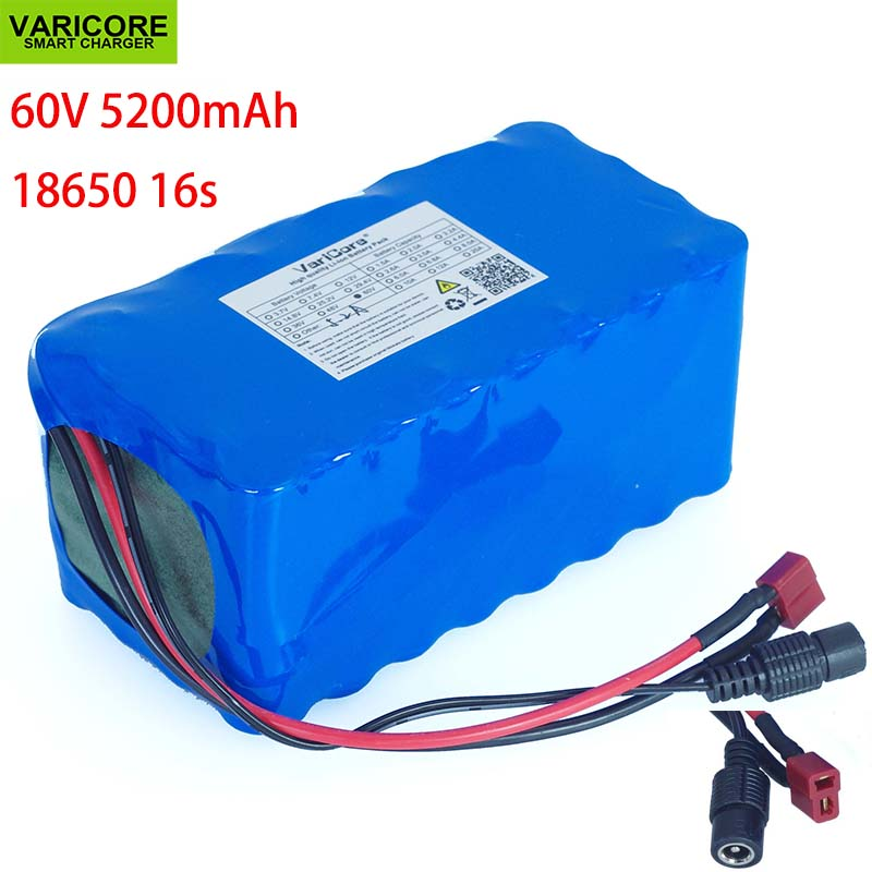 VariCore 16S2P 60V 5.2Ah 18650 Li-ion Battery Pack 67.2V 5200mAh Ebike Electric bicycle Scooter with 20A discharge BMS 1000WattVariCore 16S2P 60V 5.2Ah 18650 Li-ion Battery Pack 67.2V 5200mAh Ebike Electric bicycle Scooter with 20A discharge BMS 1000Watt