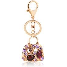 TrinketSea Trendy Crystal HandBag Key Chain Bag Buckle Pendant For Car Keyholder For Girls Gold Meatal 2018 Fashion Jewelry Gift
