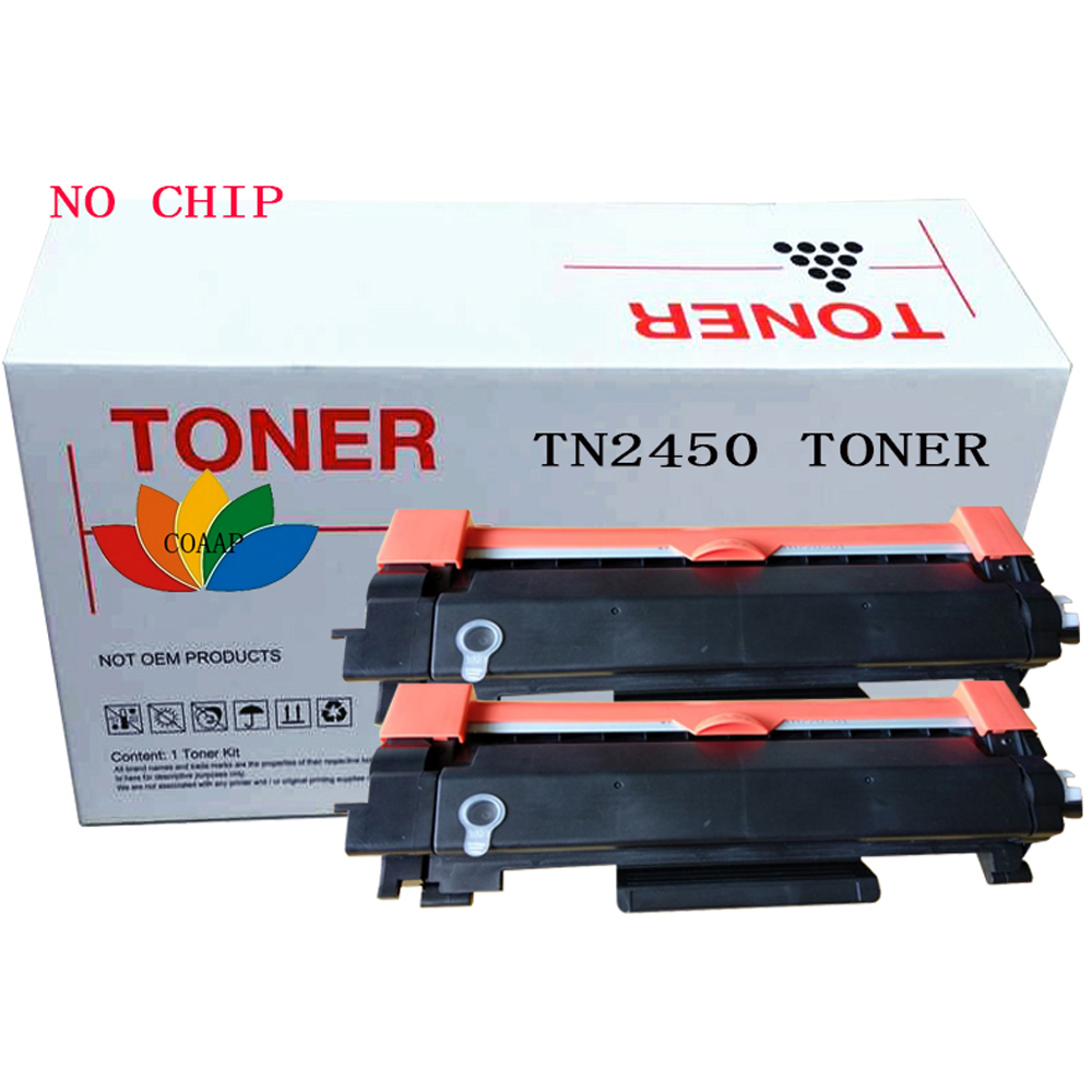 2x Compatible Toner cartridge for Brother TN 2450 HL-L2350DW L2375DW L2395DW / MFC-L2710DW L2713DW L2750DW Printer No chip for lexmark cx510de toner cartridge chip kcmy set