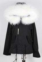 Без подкладки горячие 2016 новый 8 цвета черная весна пальто женщины короткая натуральный мех большой енот меховой воротник с капюшоном тонкий слой куртка