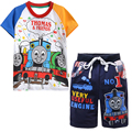 Thomas and Friends Cartoon T-Shirt for Boys Train Railway Print Cotton Pullover+Short Pants Children Suits Summer Clothing Sets