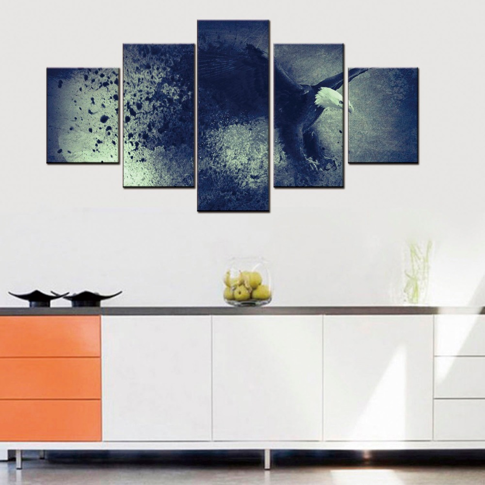 5 Pieces Home Decor Canvas Print Painting Wall Art Flying Eagle Animal Poster