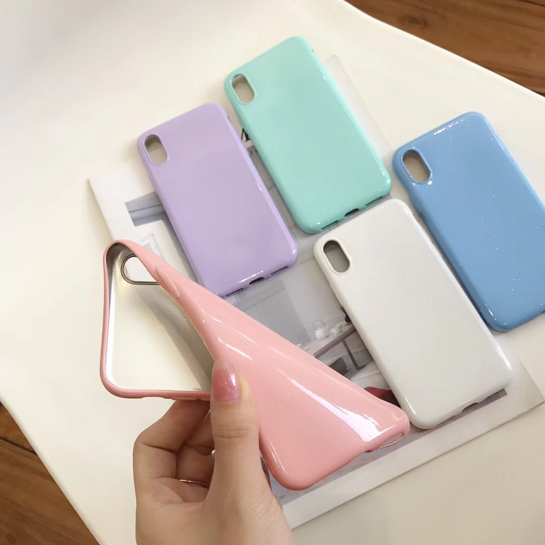 Fashion TPU Solid Color Glossy Soft TPU Skin Back Cover for iPhone X 8 7 6s 6 Plus Simple Candy Color Case for iPhone XS Max XR