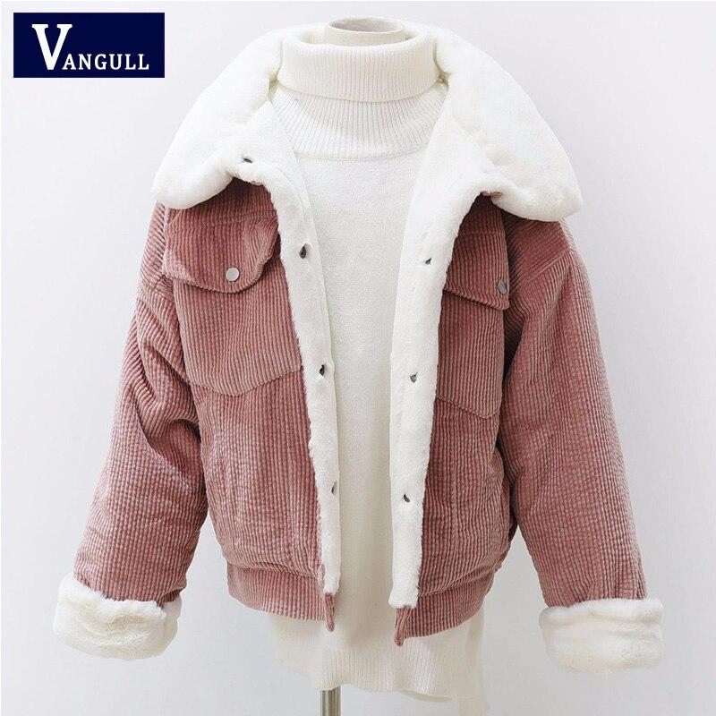 Women Faux Fur Coat Warm Corduroy Lined Long Sleeve Jacket Outwear Parka Casual