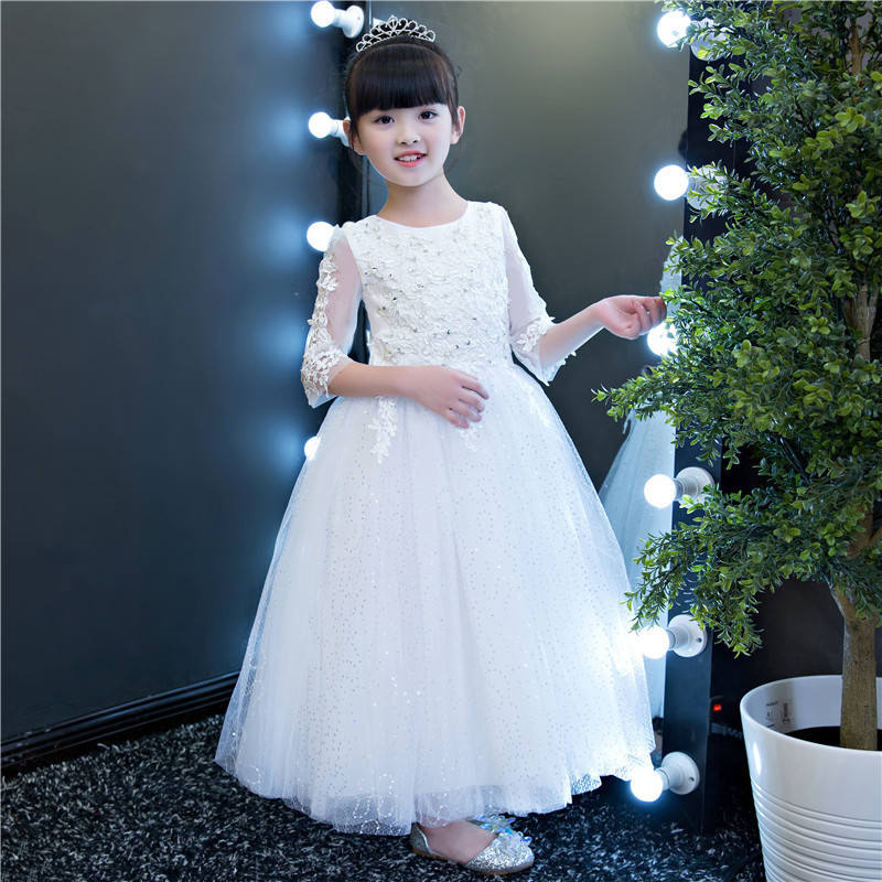 2018 New Autumn White Sequin Flower Girls Wedding Dresses Kid Teenagers Elegant Half Sleeve Formal Birthday Party Princess Gowns 1 design laser cut white elegant pattern west cowboy style vintage wedding invitations card kit blank paper printing invitation