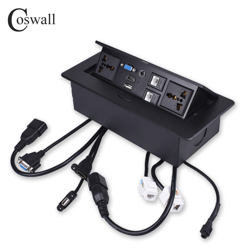 COSWALL Metal Body Slow POP UP Hidden 2 Power Universal Socket Table Outlet Dual CAT6 RJ45 Port + HDMI + USB + VGA + 3.5mm Audio