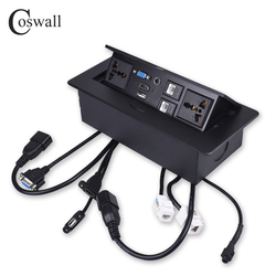 Coswall corpo de metal lento pop up escondido 2 power tomada de mesa universal dupla cat6 rj45 porto + hdmi usb vga 3.5mm áudio