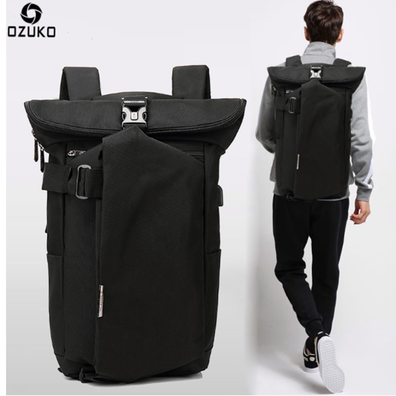 OZUKO Brand Men Backpack Oxford Wearable Breathable Anti Theft USB Charge Laptop Backpack school bags for