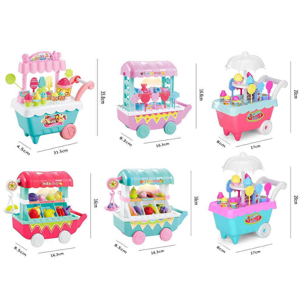 DIY niños juego de rol juguetes Mini helado/dulces/frutas/verduras carrito de compras con luz y música juguetes de juego de simulación para regalo de niños