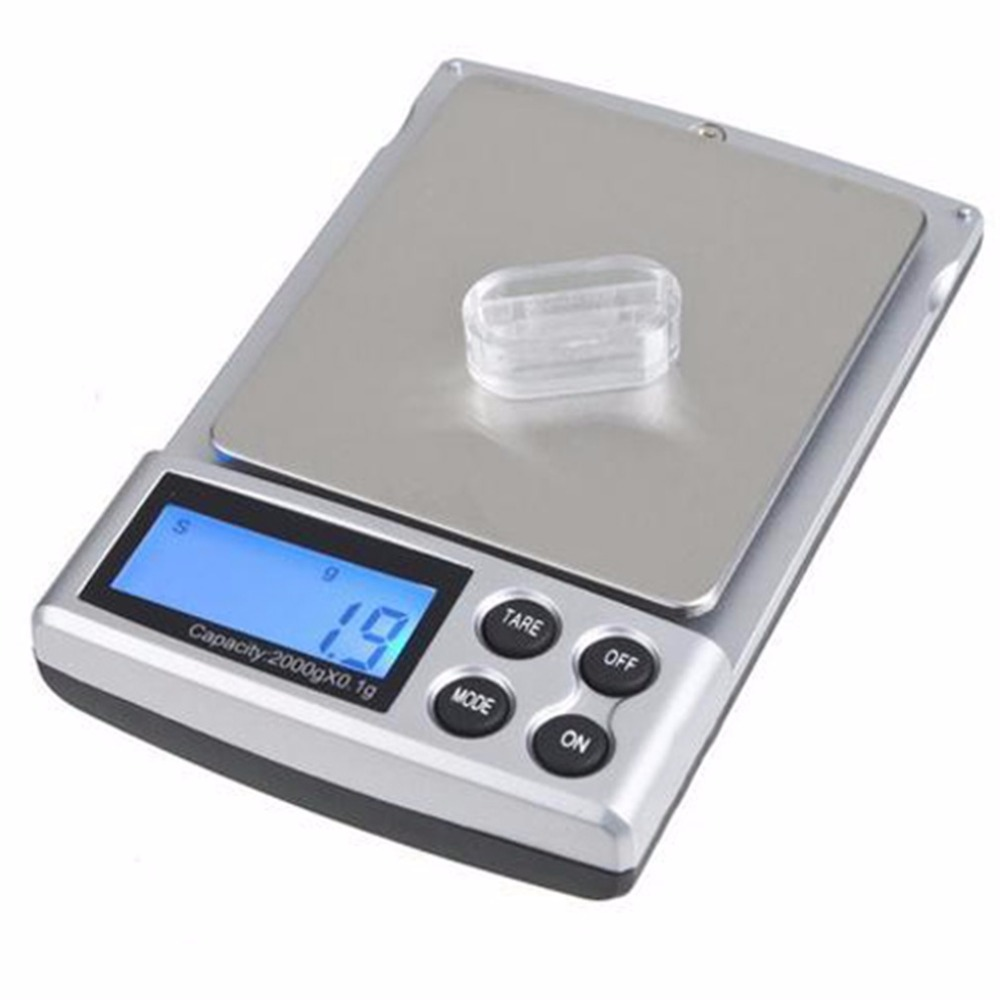 1pc 2000gx0.1g Pocket Electronic Digital Jewelry Scale Weighing Kitchen Scales Grams Balance LCD Display Dropshipping