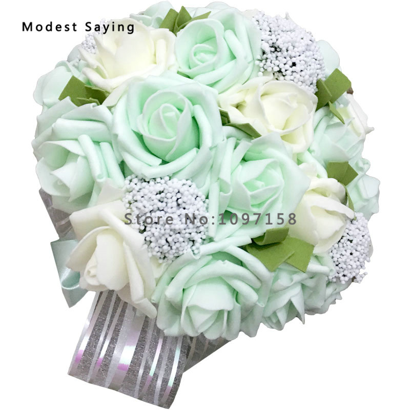 Pack with Box Mint Green Artificial Pearls Wedding Bouquets 2017 ...