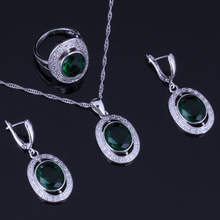 Gorgeous Oval Green Cubic Zirconia White CZ 925 Sterling Silver Jewelry Sets For Women Earrings Pendant Chain Ring V0987