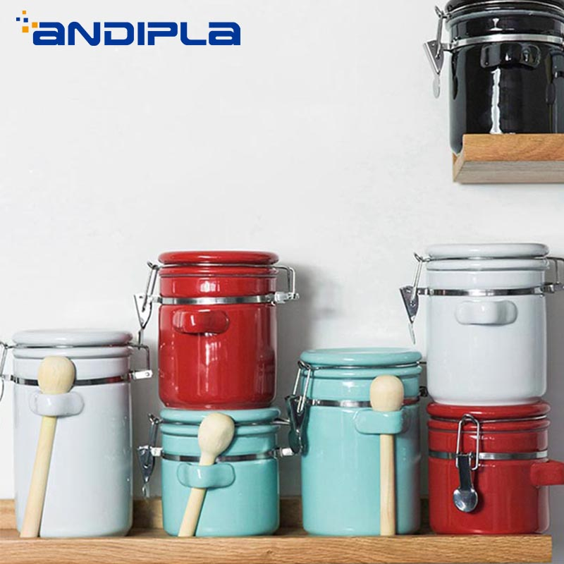 Creative Ceramic Tea Cans Sealed Canister Milk Powder Candy Coffee Beans Jars Food Container Spice Storage Bottle with Lid Spoon