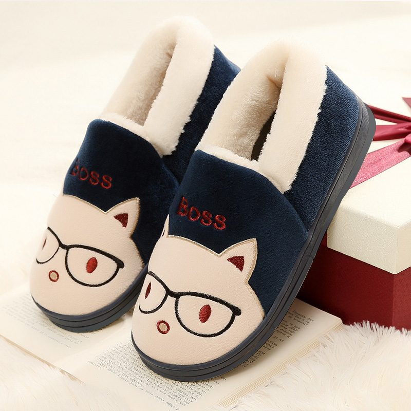 Miss Cat Cartoon Warm Home Slippers Men and Women Winter Slippers TPR Cotton Winter Shoes Floor