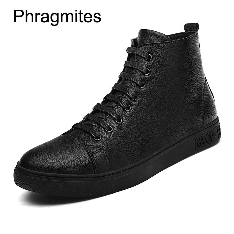 Phragmites free shipping black men boots plus size fashion sneaker men shoes leather all-match black shoes flat bota feminina все цены