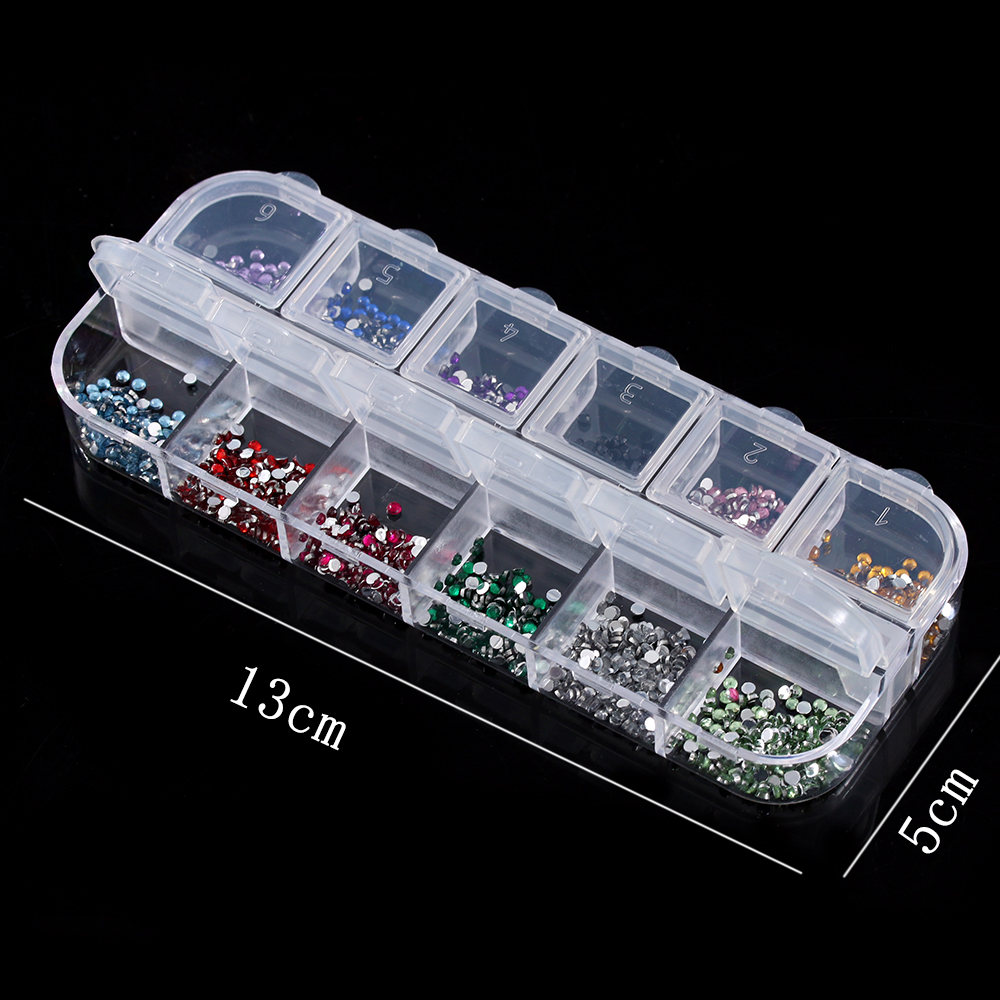 HOT Colorful Brand New Rhinestones Deco Glitter Case 2400 Pcs Round Nail Art 2mm Bing Charm Tips Decoration