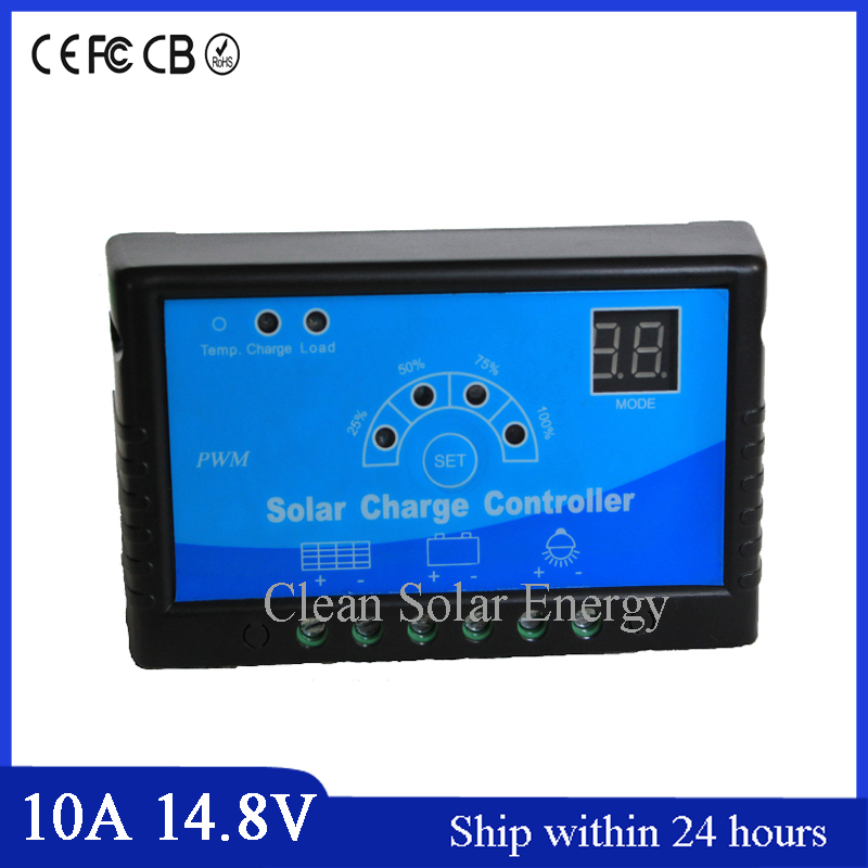 PWM Mode High Quality 10A 14.8 V Solar Charge Controller, PWM Charging Mode,Monitor System and traffic Flashing Light System
