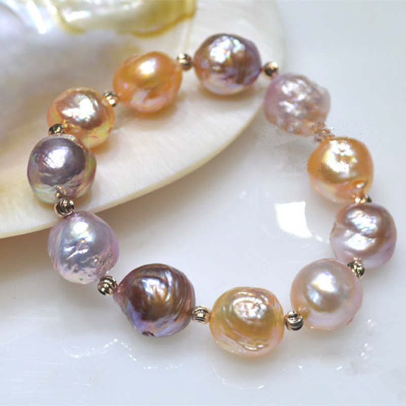 100% Natural big 11-13mm Multicolor Baroque Pearl Bracelet Fashion rose gold elasticity bracelets For women Free shipping