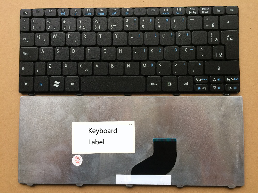New notebook laptop keyboard for ACER ONE 532H PAV70 ZE6 NAV50 EM350 D255 D260 BR  layout laptop keyboard for acer silver without frame bulgaria bu v 121646ck2 bg aezqs100110