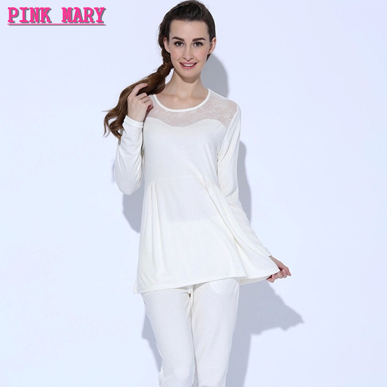 Women pajamas set qianxiu brand sleepwear lace cotton new Long cotton sleep shirts