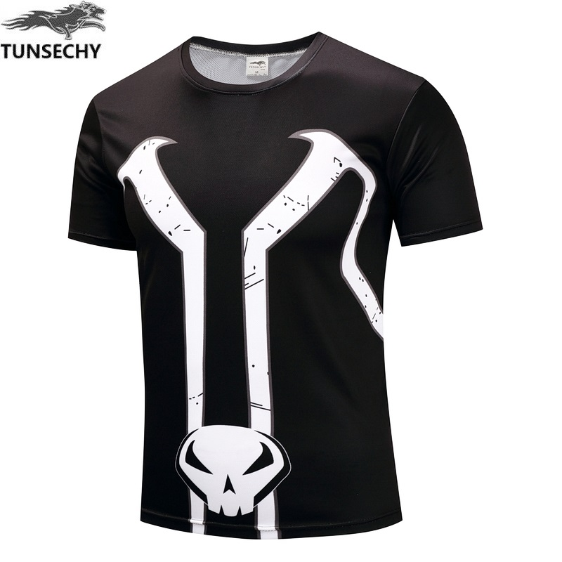 The Punisher Skull Ghost T-shirt Men Punisher Black Summer Short Sleeve T Shirts Tops Printing Casual Cotton Tees
