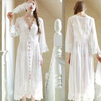 2018 bahar moda Avrupa saray retro prenses uyku elbise seksi yumuşak güzellik Nightgowns katı orta buzağı pijama gx137