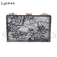Lychee Female Lace Clutches Acrylic Transparent Evening Party Bags Elegant Graceful Black White Single Chain Shoulder Bag Gift
