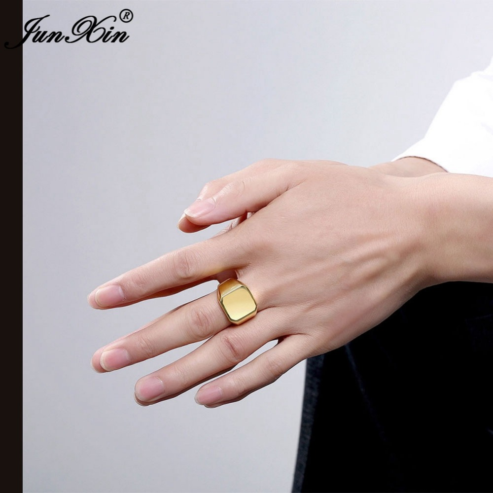 JUNXIN Silver Gold 2 Colors Fashion Male Stainless Steel Ring Party ...