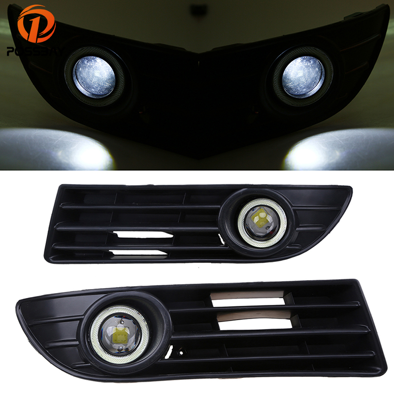 POSSBAY White Angel Eye LED Fog Light Lamp Front Bumper Grilles for VW Polo MK4 9N3 2005-2009 Facelift Daylight for opel astra h gtc 2005 15 h11 wiring harness sockets wire connector switch 2 fog lights drl front bumper 5d lens led lamp