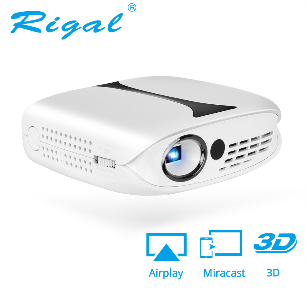 Rigal RD606 Mini LED, proyector DLP HD portátil WiFi Multi pantalla bolsillo Pico Proyector Miracast Airplay batería activo 3D Beamer