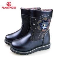 Фламинго осень украшенные цветами до середины икры синий Яркие Кожаные Нескользящие туфли для девочек Размеры 23 28 Бесплатная доставка