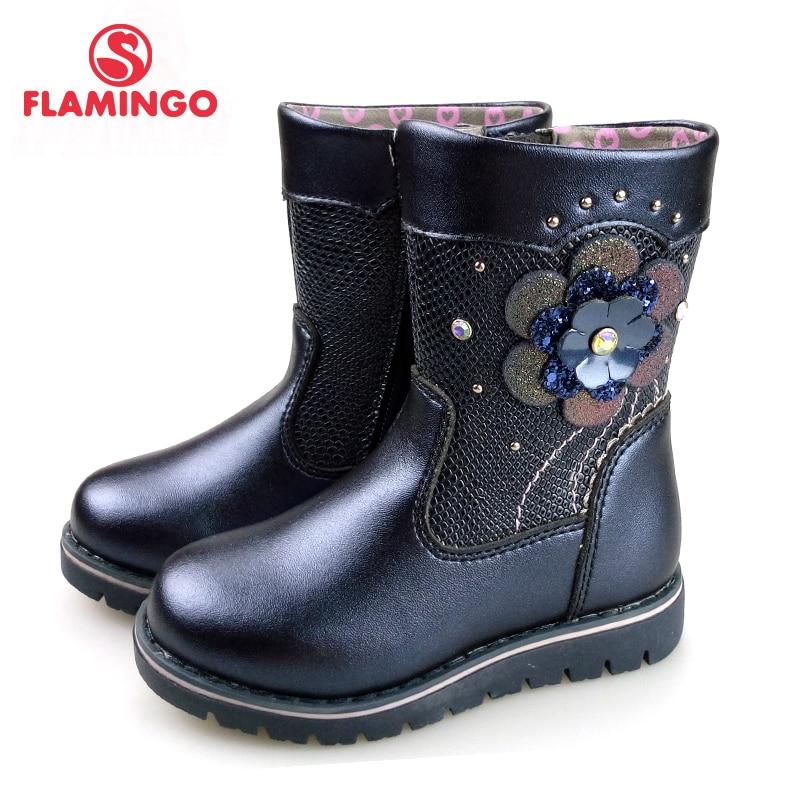 FLAMINGO Autumn Flower Decoration Mid-Calf Blue Bright Leather Anti-slip kids Shoe for Girl Size 23-28 Free Shipping 82C-XY-0990 цена