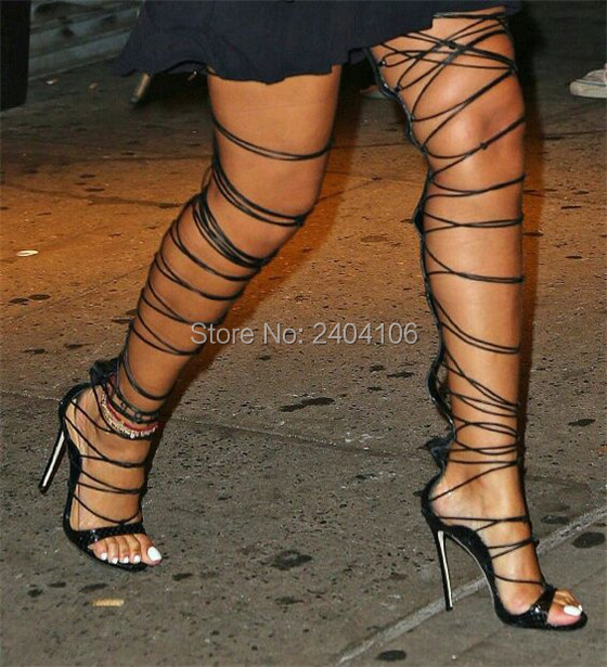 Summer Rihanna Rome Shoes Woman Cut Outs Long Strappy Thigh High Boots Cross-tied Stiletto High Heels Lace Up Gladiator Sandals back zipper tassel sandals 2017 summer style cut outs gladiator booties black leather stiletto high heels platform short boots