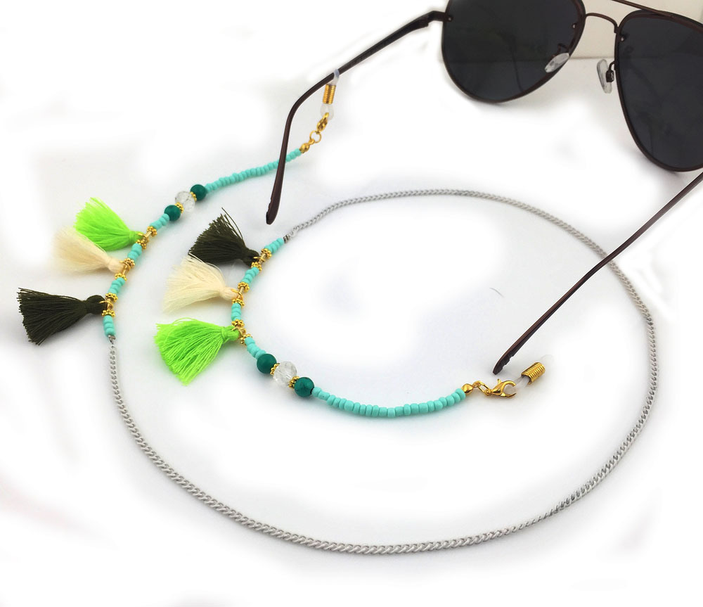 1pcs 70cm New Mint Green Bohemian Fashion Popular Beaded Fringed Girl Sunglasses Chain Cord For Reading Glasses 2 Color Excellent In Cushion Effect Apparel Accessories