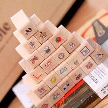 (21 Teile/satz) schöne Mini tagebuch stempel holz stempel geschenkbox aus holz sets Kinder DIY Scrapbook Fotoalbum, Kunsthandwerk geschenke