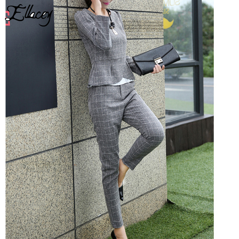 Ellacey New Spring Autumn Fashion Women's Business Pants Suits Office Lady Plaid Checker Ruffles Suits For Women 2 Pieces Set