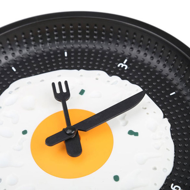 1pc Fried Egg Pan Shaped Clock New Arrival Home Wall Decoration Stylish Fried Eggs Pot Wall Clock Wall Hanging Clock