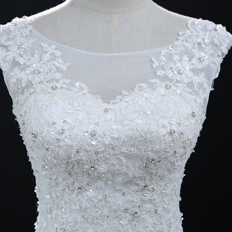 White Sleeveless Lace Mermaid Wedding Dress 5