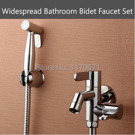 ФОТО 2 Years Warranty Brass Double-arch Double Lever Bathroom Bidet Faucet Sprayer Set Toliet Bidet + Faucet + Holder + 1.5M Hose