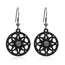 Fashion Women Jewelry Vintage Ethnic Charms Black Plated Crystal Pendant Statement Hollow Drop Earrings