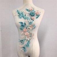1 шт. Изысканные жемчужные бисерные 3d кружевные цветы с блестками вышивка сетки шитье ткани отделка для вечернего платья, ткань