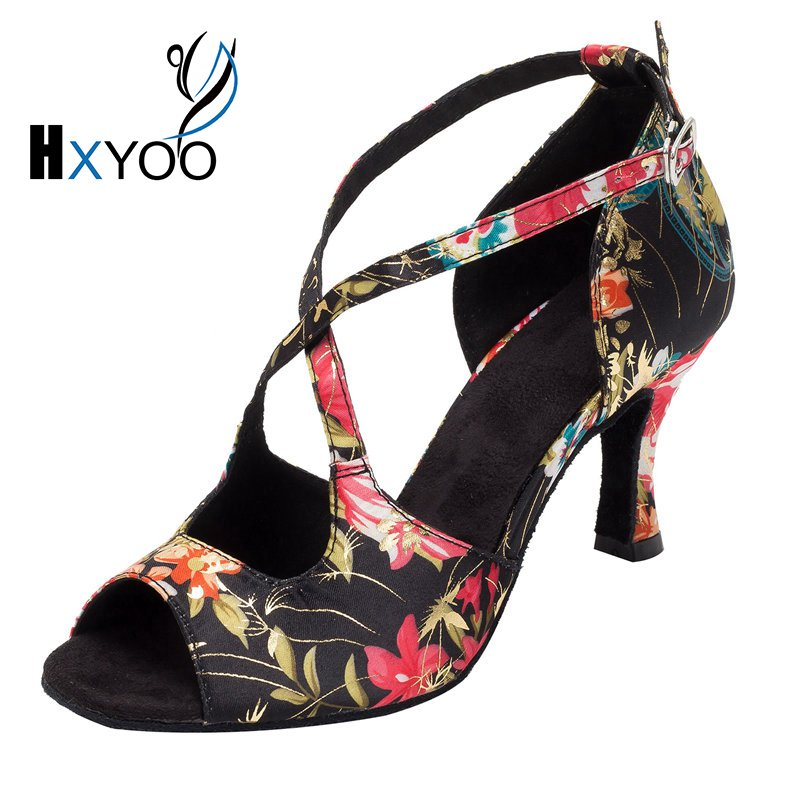 HXYOO Latin Dance Shoes Woman Salsa Black Ballroom Shoes Ladies Satin Soft Sole Red Flower WK016 n 116 1 ladies ballroom latin dance shoes crystal diamond dance shoes fast shipping worldwide
