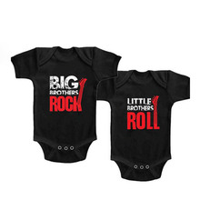 YSCULBUTOL Twin Baby cotton Boys Girl Big Brother Little bodysuit Brothers Rock baby Set for Sisters and