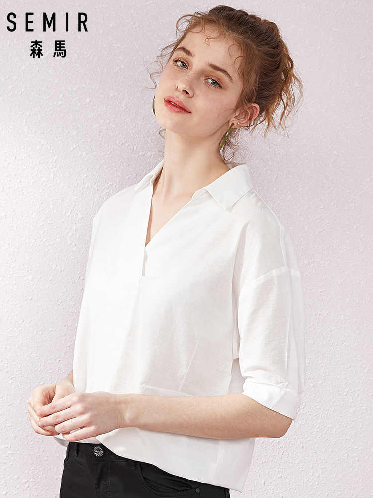 SEMIR Short sleeve white shirt women summer 2019 new lapel V-neck shirt simple solid color students fresh relaxed blouse