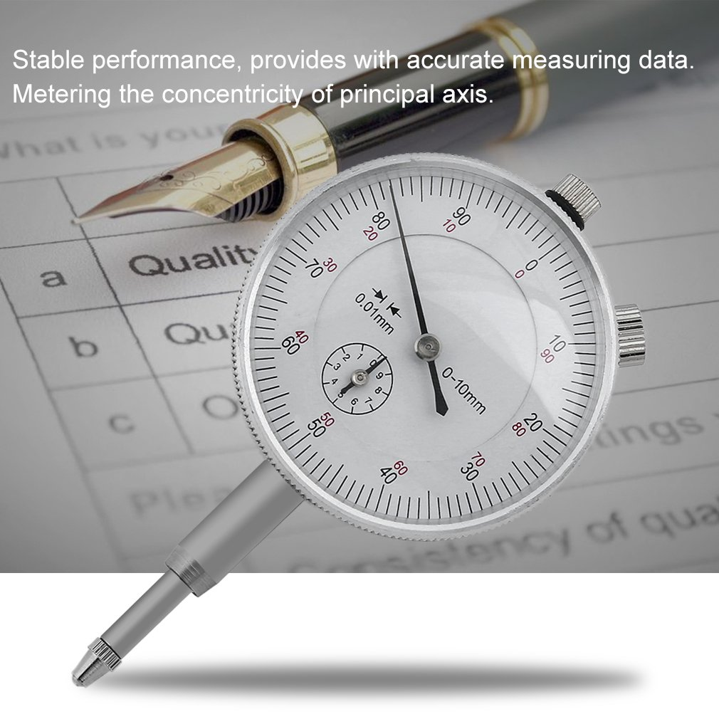 0-10mm 0.01mm Precision Dial Indicator Accuracy Gauging Tools Pointer Measure Instrument for Concentricity of Principal Axis